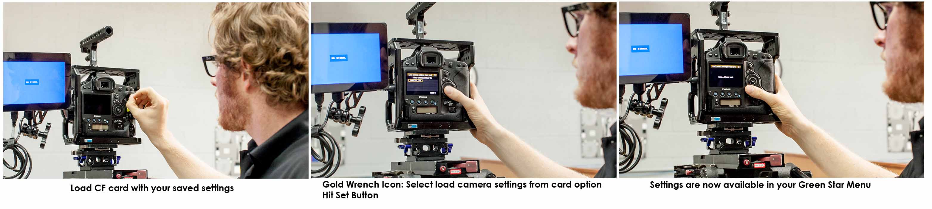 Loading saved settings from CF card; Loading settings into another camera